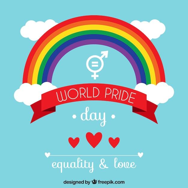 Dia do dia do orgulho com arco-íris Vetor grátis