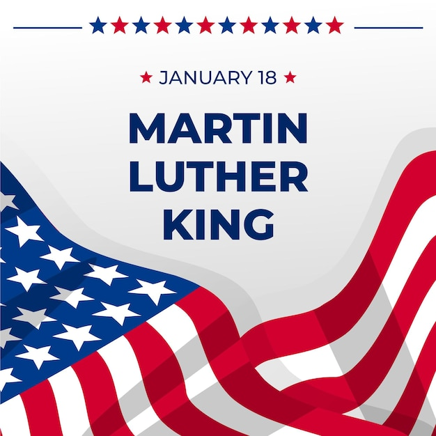 Dia do flat martin luther king Vetor Premium