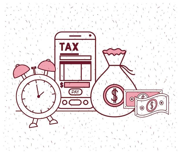 Dia do imposto conjunto de ícones Vetor Premium