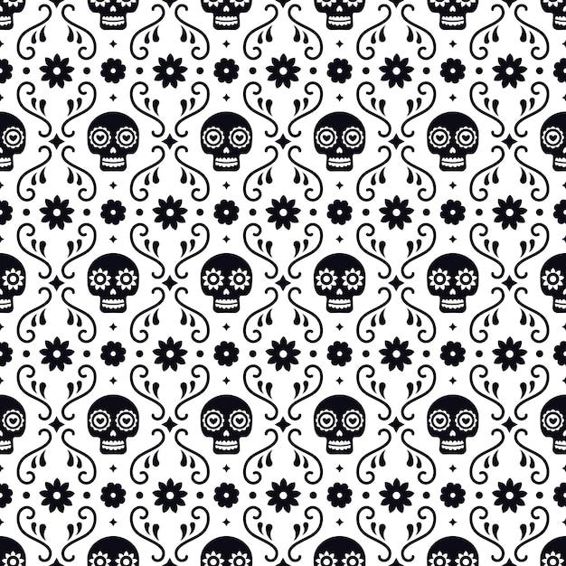 Dia do morto padrão sem emenda com caveiras e flores sobre fundo branco. design mexicano tradicional do dia das bruxas para a festa natalícia de dia de los muertos. ornamento do méxico. Vetor Premium