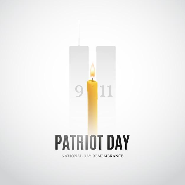 Dia do patriota com velas e silhuetas de construção. Vetor Premium