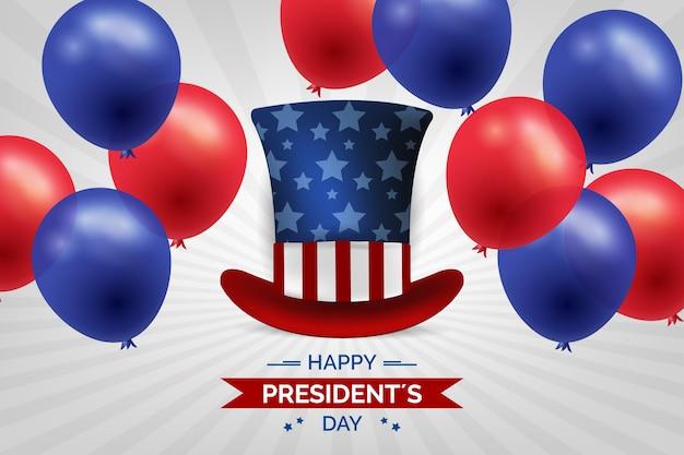 Dia do presidente com balões e chapéu realistas Vetor grátis