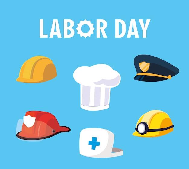 Dia do trabalho com capacetes e chapéus de profissionais Vetor Premium