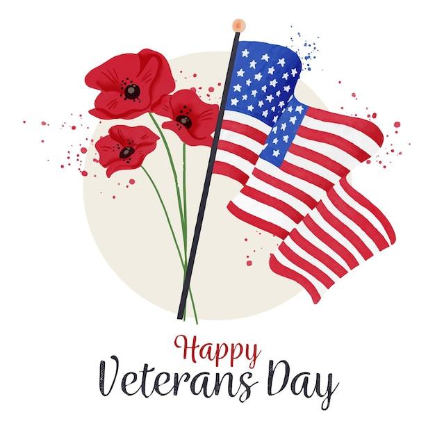 Dia do veterano com bandeiras e flores Vetor grátis