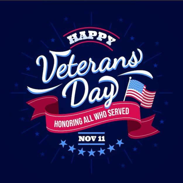Dia do veterano com letras de fita Vetor grátis