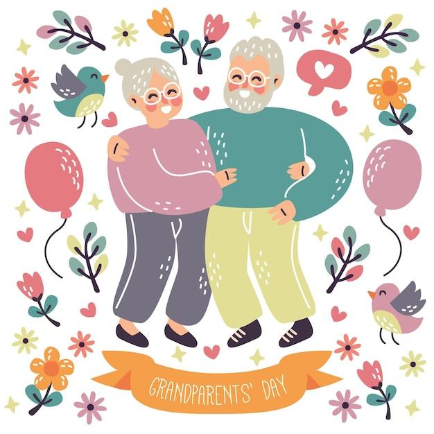 Dia dos avós casal de idosos ser feliz Vetor grátis