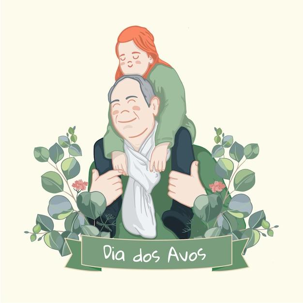 Dia dos avós com avô Vetor grátis