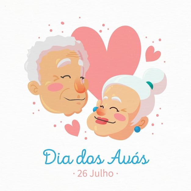 Dia dos avós com casal de idosos Vetor grátis