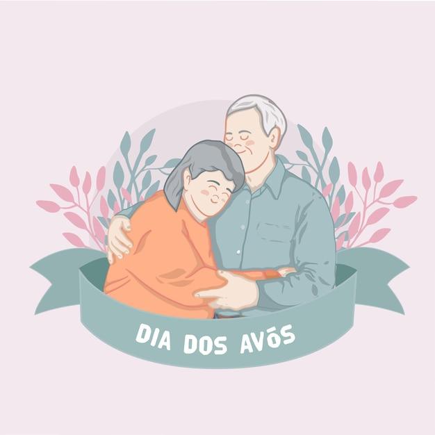 Dia dos avós com idosos Vetor grátis