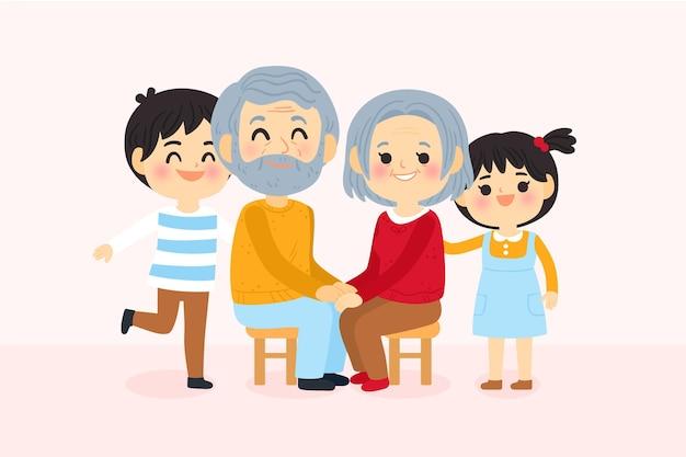 Dia dos avós com netos Vetor grátis