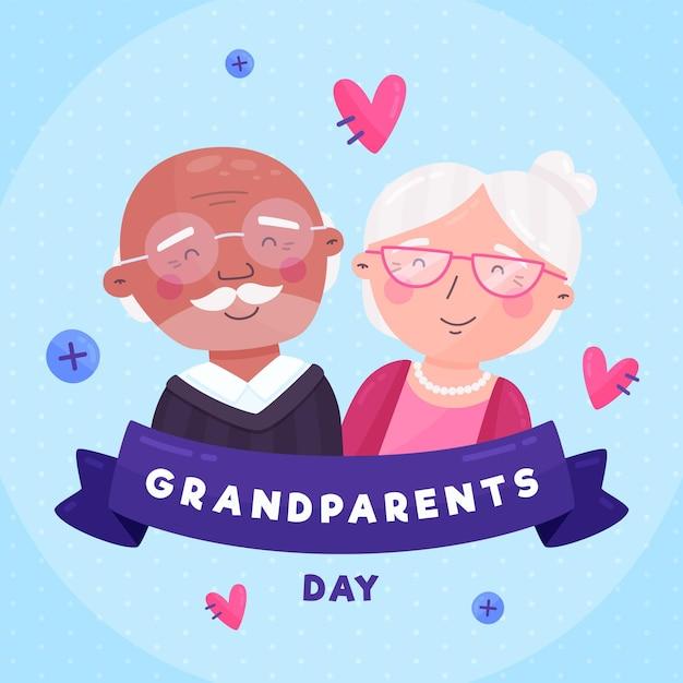 Dia dos avós nacionais de design plano com corações Vetor grátis