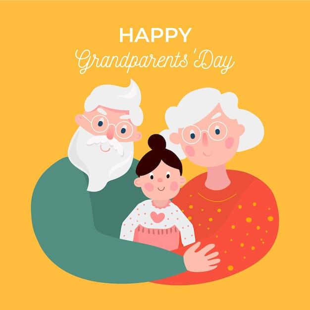 Dia dos avós nacionais de design plano com neta Vetor grátis