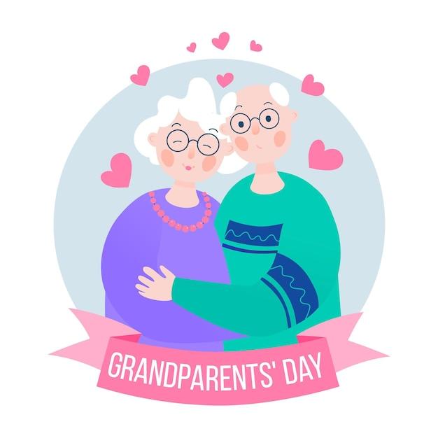 Dia dos avós nacionais de design plano Vetor grátis