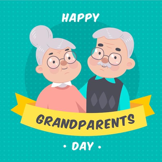 Dia dos avós nacionais desenhados à mão Vetor Premium