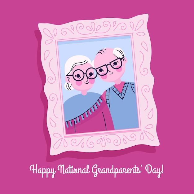 Dia dos avós nacionais desenhados à mão Vetor grátis