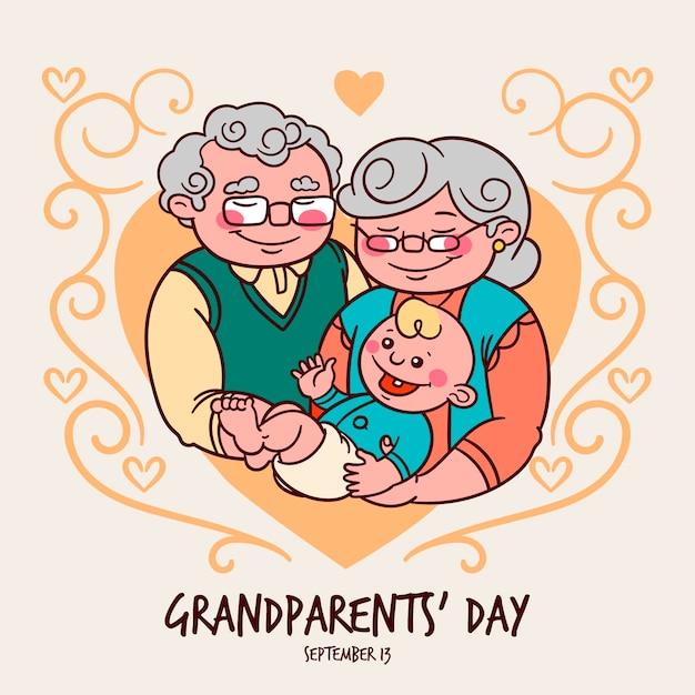 Dia dos avós nacionais mão desenhada com bebê Vetor grátis