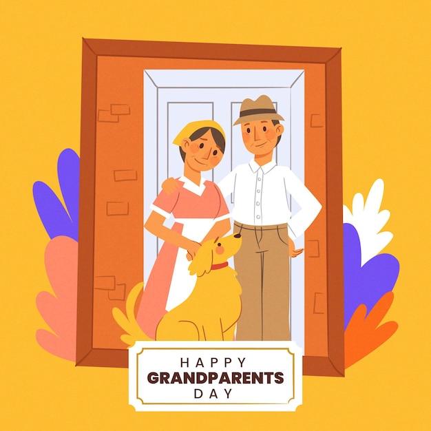 Dia dos avós nacionais mão desenhada com moldura Vetor grátis
