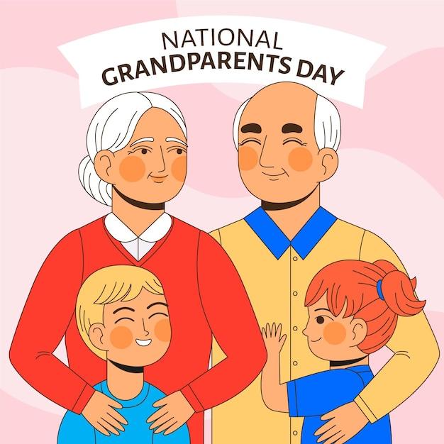 Dia dos avós nacional plana eua Vetor grátis