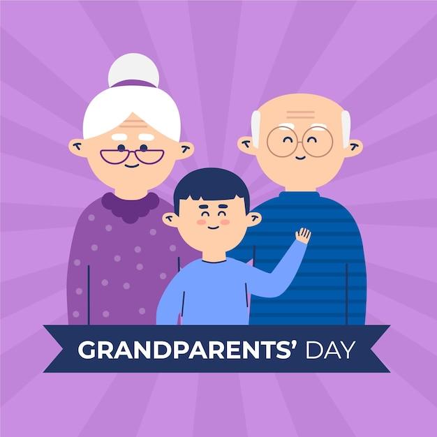 Dia dos avós nacional plana eua Vetor Premium