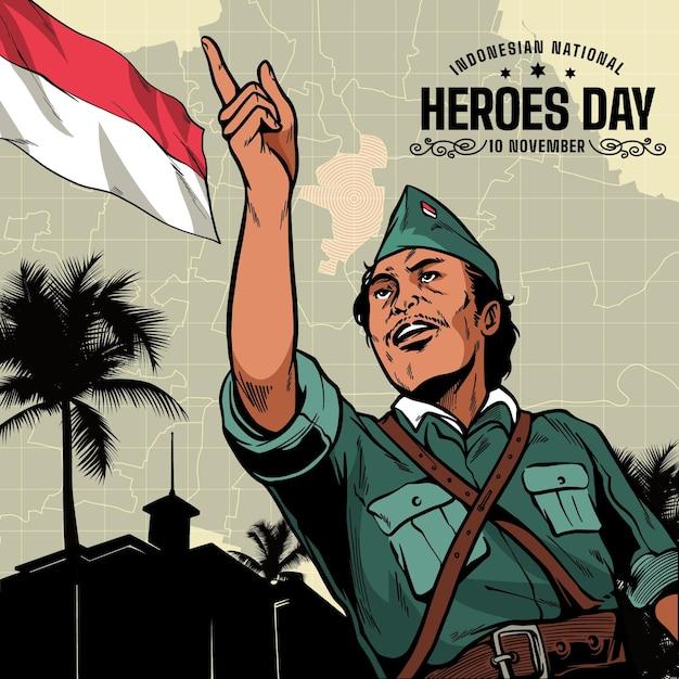 Dia dos heróis / pahlawan vintage Vetor grátis