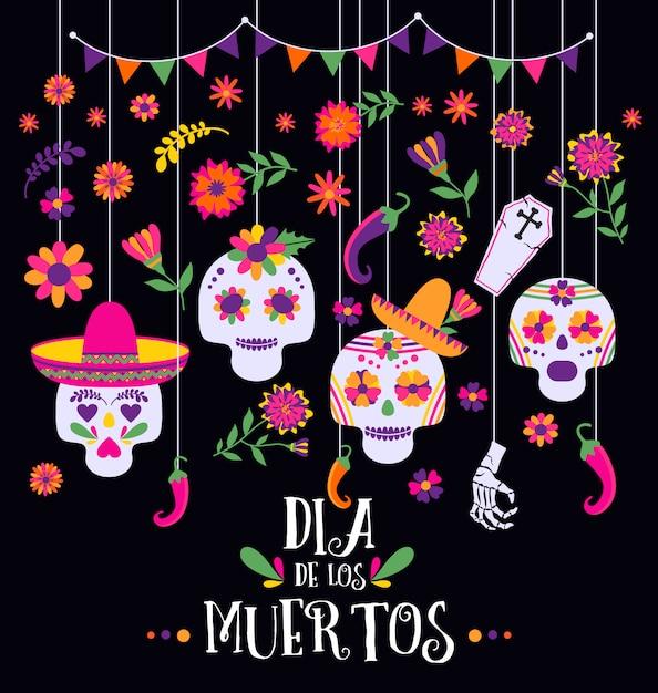Dia dos mortos, dia de los muertos, banner com flores coloridas mexicanas e ícones. Vetor Premium