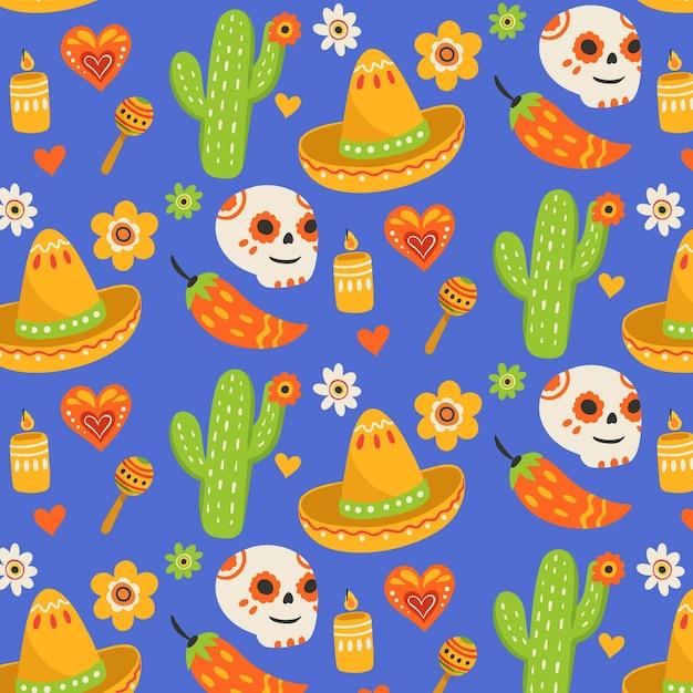 Dia dos mortos no estilo padrão Vetor grátis