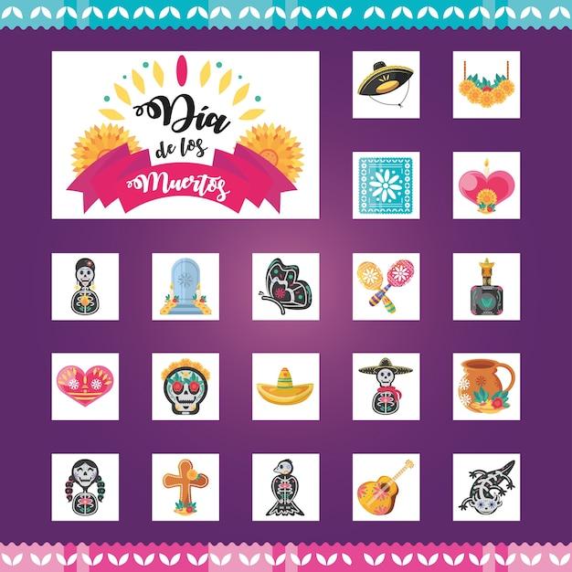 Dia dos mortos no méxico, conjunto de símbolos detalhados, cultura do méxico Vetor Premium