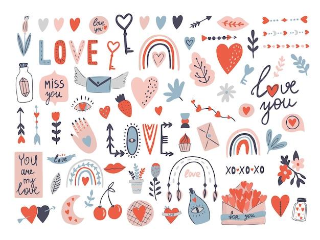 Dia dos namorados amor conjunto com letras com envelope, coração com clipart de vetor de seta. Vetor Premium