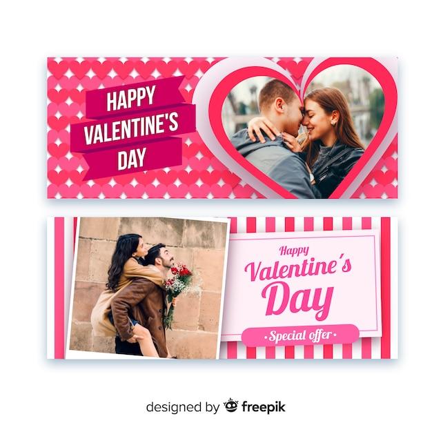 Dia dos namorados banners web Vetor grátis