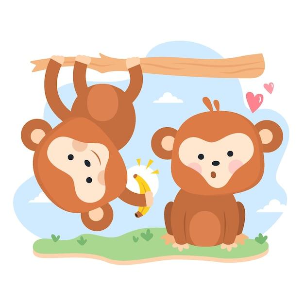 Dia dos namorados bonito casal de macacos Vetor grátis