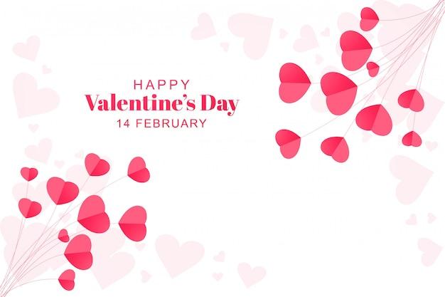 Dia dos namorados com cartão de corações de papel Vetor grátis