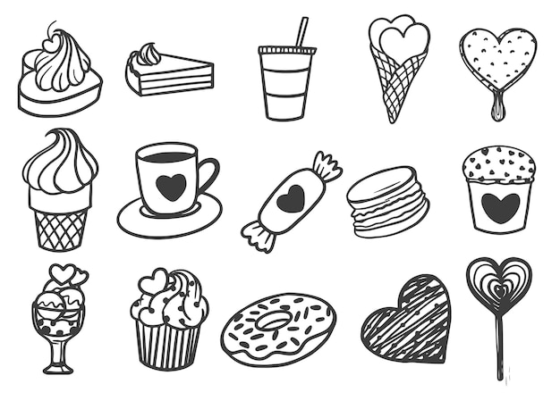 Dia dos namorados com comida e bebida desenhada à mão Vetor grátis
