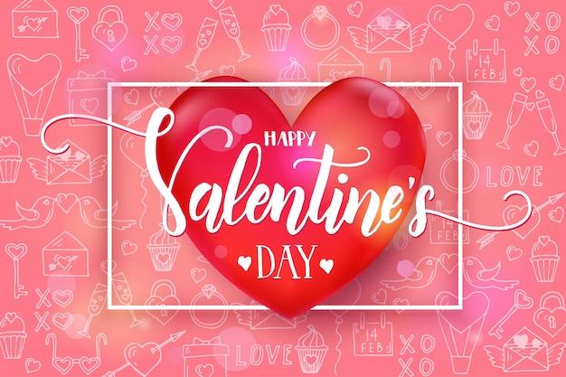 Dia dos namorados com coração vermelho 3d e moldura em rosa padrão com mão desenhada amor linha arte símbolos. esboço. feliz dia dos namorados. Vetor Premium