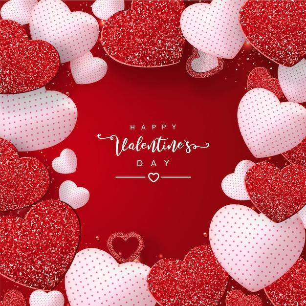 Dia dos namorados com corações de efeito vermelho glitter em vermelho Vetor Premium
