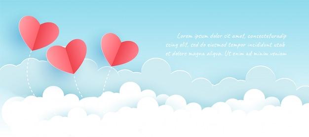 Dia dos namorados com corações em papel cortado e estilo artesanal. Vetor Premium