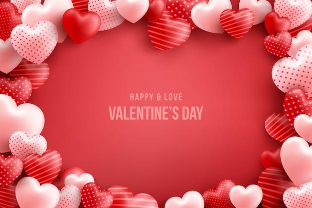 Dia dos namorados com muitos corações doces e no vermelho. modelo de promoção e compra ou para o amor e dia dos namorados Vetor Premium