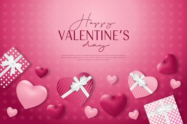 Dia dos namorados com presente e fundo rosa banner Vetor Premium