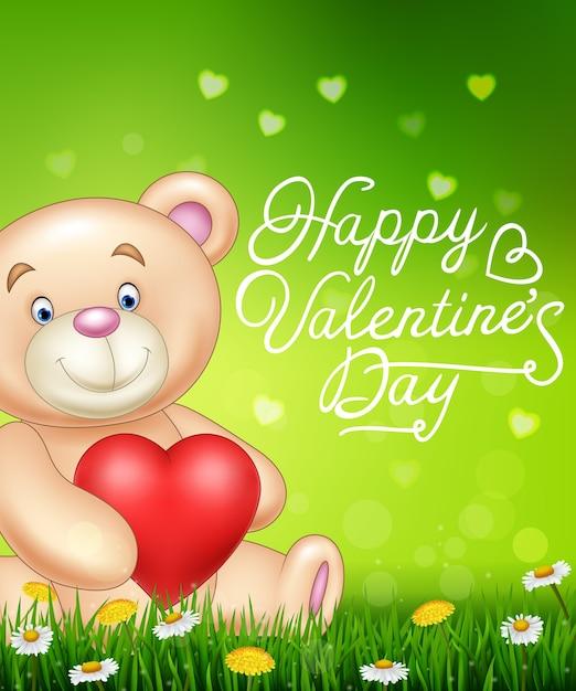 Dia dos namorados com urso dos desenhos animados segurando balões de coração vermelho na grama verde Vetor Premium