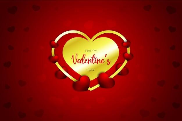 Dia dos namorados coração doce realista, estilo, faixa vermelha ou plano de fundo Vetor Premium