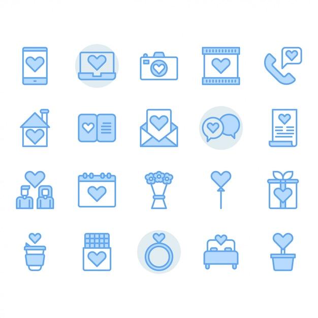 Dia dos namorados e conjunto de ícones de amor Vetor Premium