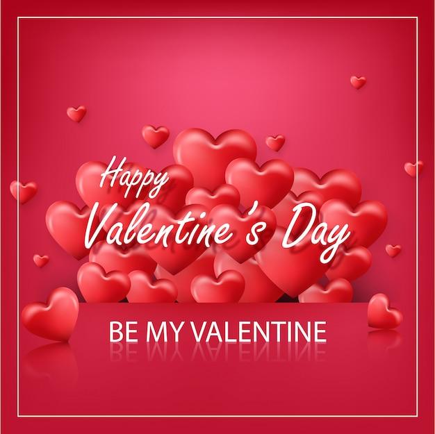 Dia dos namorados em fundo vermelho com coração de balões vermelhos Vetor Premium