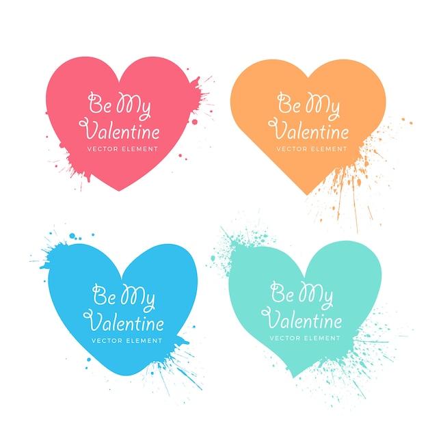 Dia dos namorados espirrado coleção de corações Vetor grátis