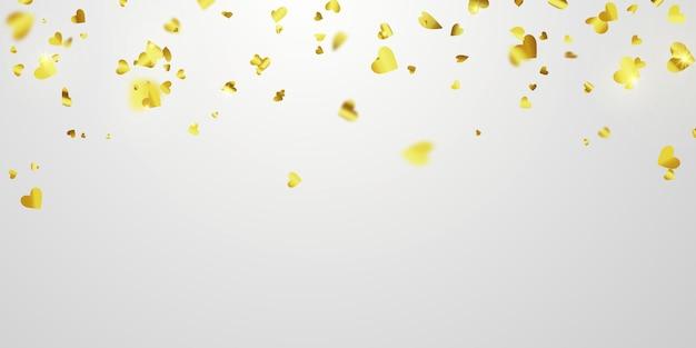Dia dos namorados, fitas de confete coração ouro. Vetor Premium