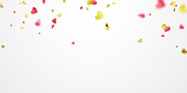 Dia dos namorados, fitas de ouro vermelho de coração de confete. Vetor Premium