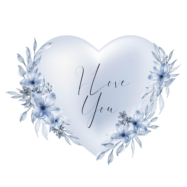 Dia dos namorados forma de coração azul eu te amo palavras com flores em aquarela e folhas Vetor grátis