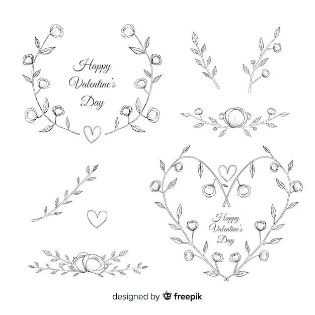 Dia dos namorados guirlanda floral e coleção de decorações Vetor grátis