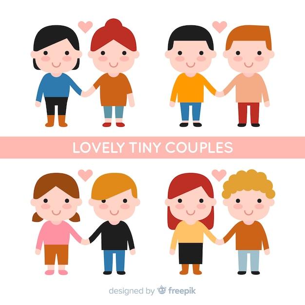 Dia dos Namorados lindo casais minúsculos Vetor grátis