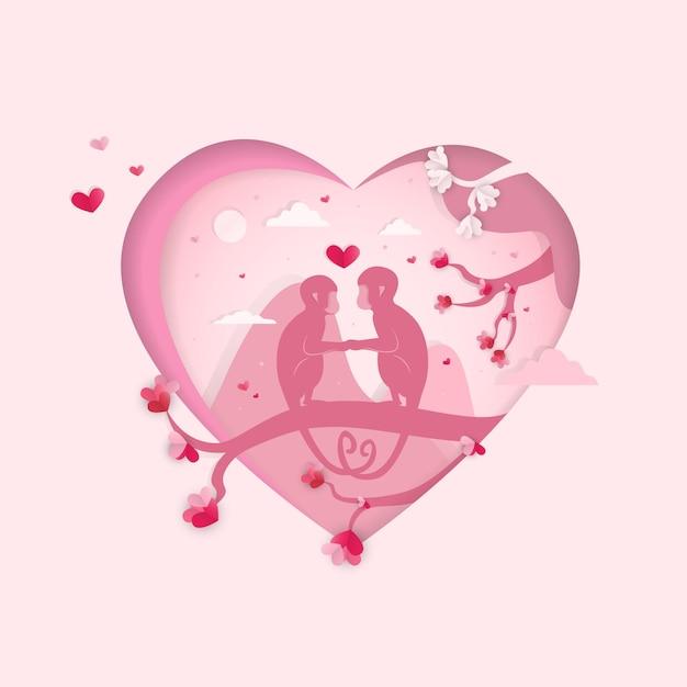 Dia dos namorados, macacos na ilustração do fundo do coração Vetor Premium