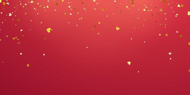 Dia dos namorados, modelo de banner. fitas de confete coração ouro. Vetor Premium