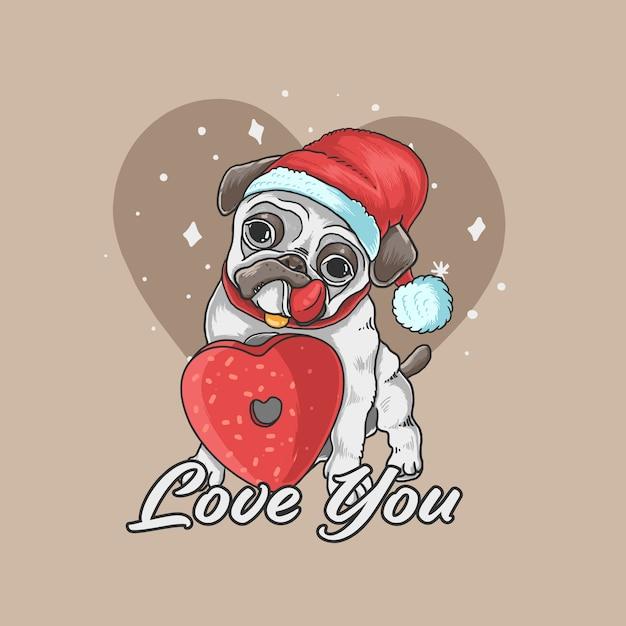 Dia dos namorados pug cão bonito amor ilustração de fundo Vetor Premium